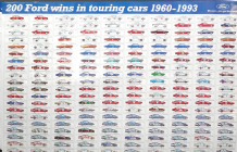 "FORD 200 TOURING CAR WINS 1960-93.  Poster 31 x 21"" (790 x 540mm)"